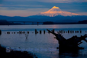 Mount Hood over Columbia River near Vancouver, WA